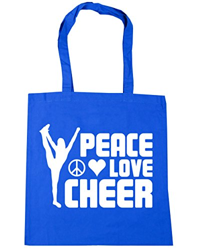 hippowarehouse-peace-love-cheer-cheerleading-tote-shopping-gym-beach-bag-42cm-x38cm-10-litres
