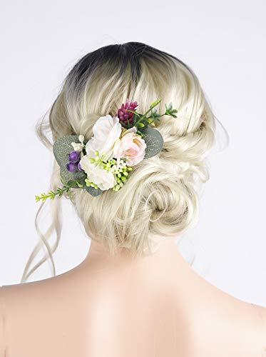 Anglacesmade Brautschmuck, elfenbeinfarbene Blumen, Haarkamm mit Blumen, Haarklammer, Hochzeit, Haarschmuck, für Damen und Mädchen