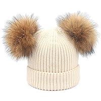 Hhrong Sombrero para niños, Bola de Pelo, Sombrero, otoño e Invierno, además de Terciopelo Grueso, Lana cálida, Sombrero de Punto, Sombrero de Invierno Adecuado para Actividades al Aire Libre