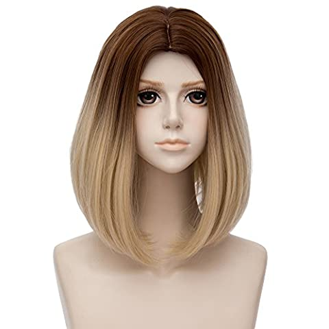 Top Cosplay Fashion Braun Blond Ombre Einfärbung Mittellang 14 Inches