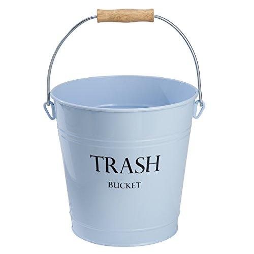 Papierkorb Metall Büro (mDesign Abfallsammler aus Metall – schicker Papierkorb für Bad, Büro und Schlafzimmer – 12 Liter großer Mülleimer für Papier etc. – hellblau)