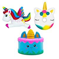 NIMU 3 Pieces Squishies Pack Kawaii Jumbo Squishies Soft and Slow Rising Giant Unicorn Cake Cute Donut Unicorn Rainbow Unicorn Stress Relief Pressure Squishy Toy for Girls Boys Adults