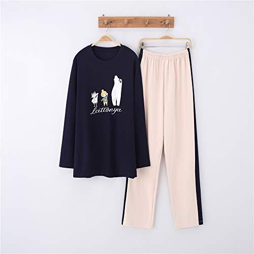 Dude Der Kostüm - Damen Baumwolle Schlafanzug Pyjama Set Lang Zweiteilige,Paar Baumwolle Langarm Männer und Frauen Anzug Home Service A-8 männlich XXL