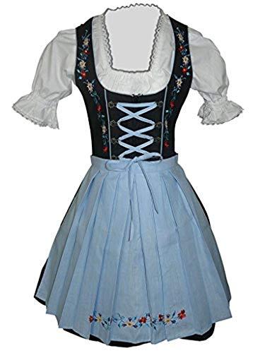 Di06bls Mini Dirndl, 3 teiliges Trachtenkleid in schwarz blau, Kleid mit Bluse und Schürze, Rocklänge 47-58 cm, Gr. 50