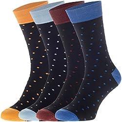 JACK & JONES - Juego de 4 calcetines, diseño de lunares, color negro Negro Con Puntos 41/46 ES