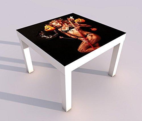 Design - Tisch mit UV Druck 55x55cm Sexy Teufel Kürbis Hexe Halloween Spieltisch Lack Tische Bild Bilder Kinderzimmer Möbel 18A309, Tisch 1:55x55cm (Hexen Halloween-bilder Von)