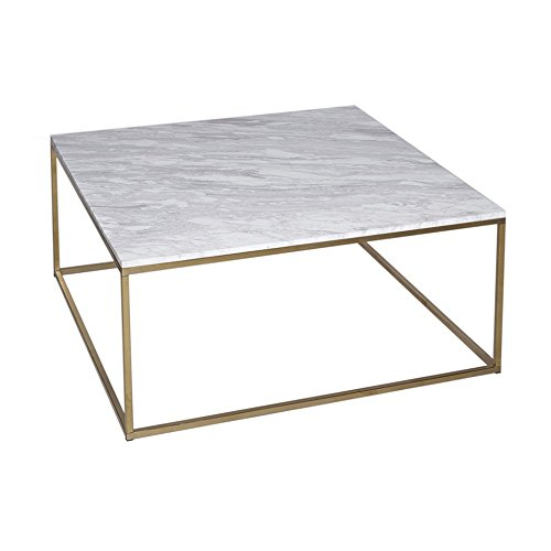 Gillmore Space Marbre Blanc Table Basse carré d'Or métal Contemporain