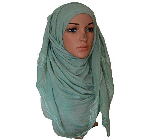 Maxi Hijab de encaje Side Encaje Plain suave Maxi Hijab Large Lace Border...