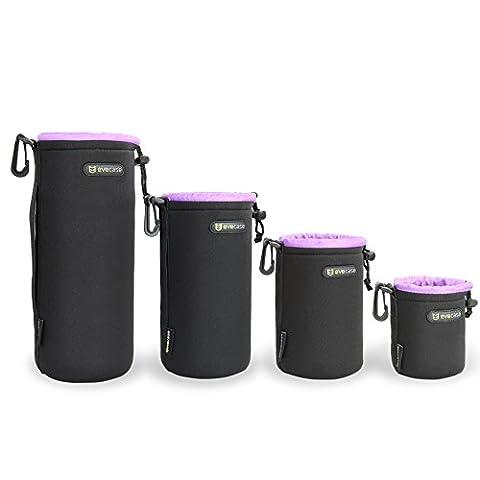 Objektivtasche, Evecase 4er-Pack Neopren Wasserabweisend Objektivbeutel mit Kordelzug, Flauschiger Innenfutter, Karabinerhaken - S / M / L /