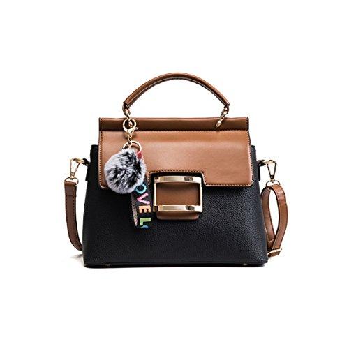 Frauen Leder Handtaschen Große Tasche 2018 Frühjahr Neue Koreanische Version Der Wilden Mode Große Kapazität Schulter Messenger Bag Black,Black-OneSize (Braune Handtasche Kunstleder)