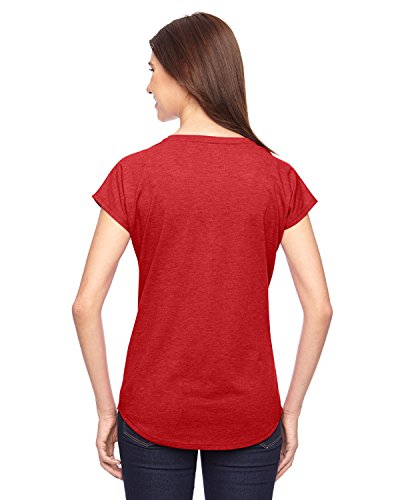 Anvil Womens Tri-Blend V-Neck Tee Heather Red