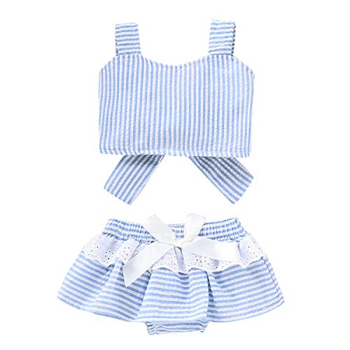 Puseky 2 teile/satz Infant Baby Mädchen Gestreiftes Bowknot Tank Top + Swing Shorts Outfit Set (Color : Light Blue, Size : 6M-12M) (Swing-sets Teile)