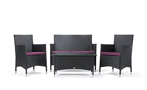 Rattan Gartenmöbel Sitzgruppe Avignon 4 Teilig Schwarz Stahlrahmen