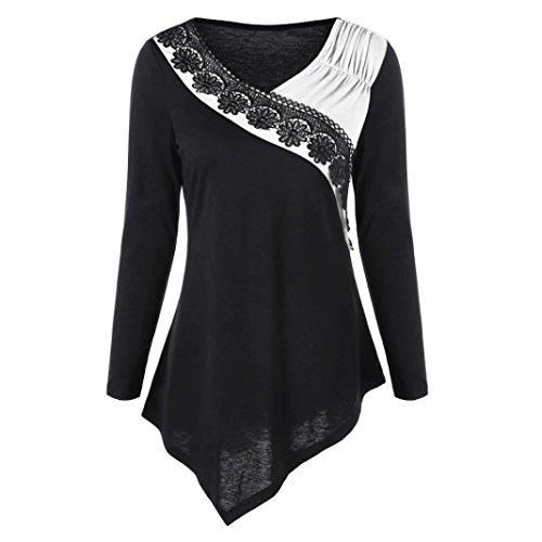 Damen Pullover, Frauen Langarm Schlank Bluse Hemd Shirt , SEWORLD Mode Damen Langarm V-Ausschnitt Pullover Bluse Two Tone Lace Trim Asymmetrische Oberteile (Weiß, M) (Trim Pullover)