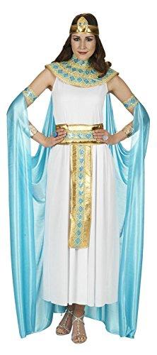 Elbenwald Cleopatra Damen Kostüm weiß Gold türkis Kleid mit Cape Gürtel Kragen Stirnband - 36/38