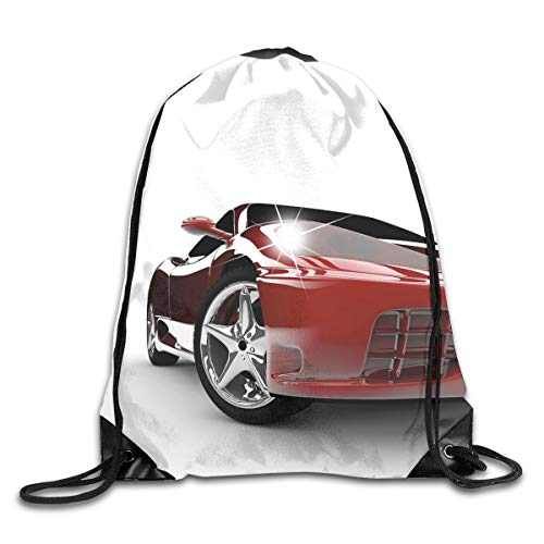YOWAKi Printed Drawstring Backpacks Bags,Modern Automotive Vivid Toned Car Back View Prestige Passion Artistic Image,Adjustable String Closure - Prestige Hipster