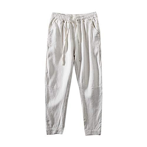 Kurze Hosen Stretch Herren Sommer Einfache Und Modische Baumwoll Und Leinenhose Beige XXXL Silk Blend Hose