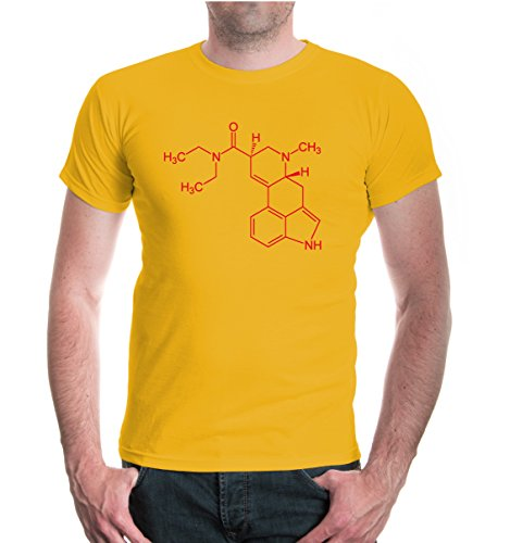 buXsbaum® T-Shirt-Strukturformel-Lysergsäurediethylamid Sunflower-Red