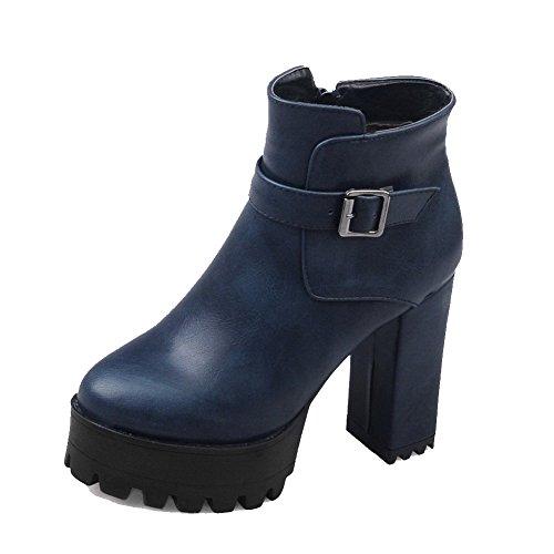 VogueZone009 Damen Niedrig-Spitze Rein Reißverschluss Schließen Zehe Hoher Absatz Stiefel Blau