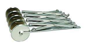 De Buyer 4781.00N Bicyclette - Rouleau Coupe-Pâte Extensible - Inox - 5 Lames Unies Diamètre 5,5 cm