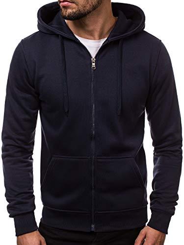 OZONEE Herren Zip Hoody Reißverschluss Fleece Sport Fitness Training Sweatshirt Hoodie Sweatjacke Kapuzenpullover J.Style 2008 Marineblau L -