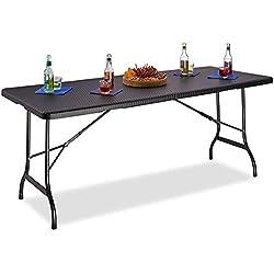 Maxx Table Pliante d'appoint - Portable pour Camping ou réception - 180 cm - Noir Ratan Look