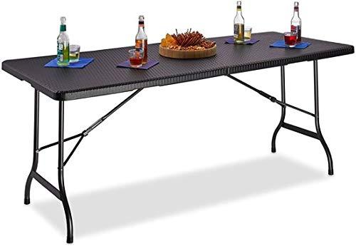 Maxx - tavolo da giardino in plastica - pieghevole - tavolo da giardino pieghevole - nero effetto rattan - 180 x 75 x 74 cm