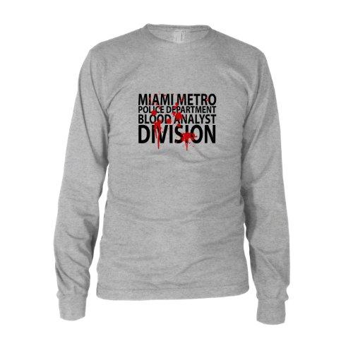 MMPD Blood Analyst - Herren Langarm T-Shirt, Größe: L, Farbe: grau (Kostüme Dexter)