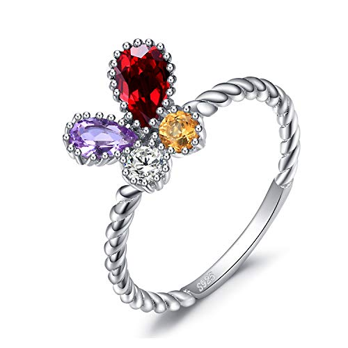 elter Schmetterling Birne Cut Lila Amethyst Roter Granat Runde Form Gelb Citrin Zirkonia Promise Ring 925 Sterling Silber ()