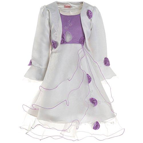 unions Kleid Festkleid Kostüm mit Bolero und Rose 21476, Farbe:Lila, Größe:128 (Kommunion Kleider Mit ärmeln)