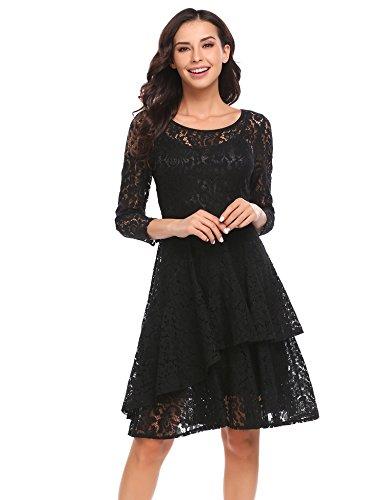 Meaneor Damen Kleid Falten A-linie Doppel Ruffles Knielang Spitzenkleid Festliche Kleid Mit Hem Gefaltetes Abbildung 2