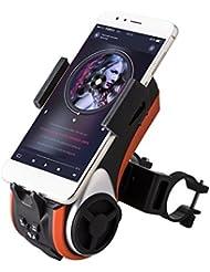 Multifunktions Staub- und wasserdicht IP66 Fahrradlicht - Milool Kabellos Fahrrad Lautsprecher mit Powerbank und Fahrradzubehör(Orange)