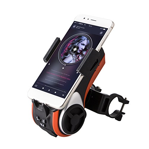 Supporto Bici Smartphone Bike Speaker Bici Altoparlante Multifunzione con Power Bank e Led - Lettore Audio-Milool (Orange)