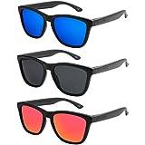 X-CRUZE - Pack de 3 gafas de sol polarizadas estilo Retro Vintage Unisex Caballero Dama Hombre Mujer Gafas - negro mate - Set A -