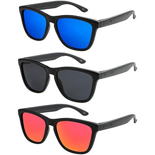 2 - X-CRUZE - Pack de 3 gafas de sol polarizadas estilo Retro Vintage Unisex Caballero Dama Hombre Mujer Gafas - negro mate - Set A -