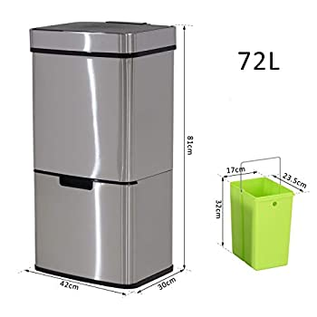 HOMCOM 72L Recycling Sensor Bin Stainless Steel 3 Compartments For Both Wet/Dry Waste w/Removable Lid Kitchen Home