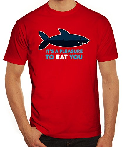 Lustiges Herren T-Shirt mit Pleasure To Eat You Motiv von ShirtStreet Rot
