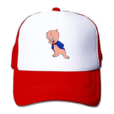Hittings Funny Porky Pig Looney Tunes Adult Nylon Adjustable Plain Hat Red