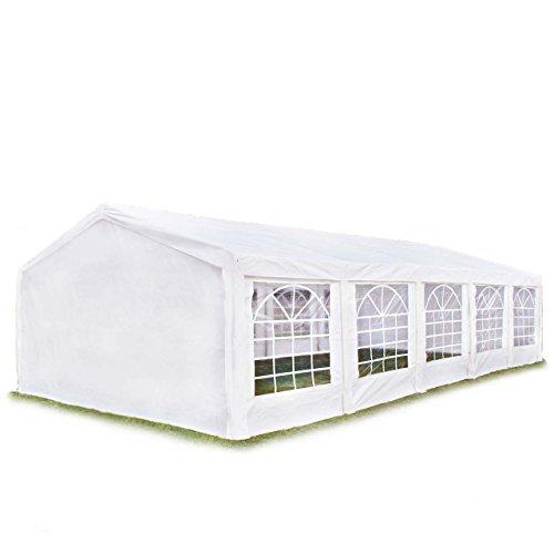 Hochwertiges Partyzelt 5x10 m Pavillon Zelt 240g/m² PE Plane Gartenzelt Festzelt Bierzelt Wasserdicht! weiß