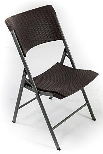 AVANTI TRENDSTORE - Classic - Sedia pieghevole. Telaio in metallo, seduta e schienale in plastica sintetica marrone, ottica di rattan. dimensioni: LAP 47x86x55 cm