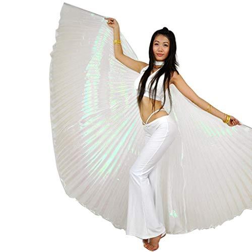 Bauchtänzerin Kostüm Weiß - Wuchieal Öffnung Bauchtänzerin Isis Flügel Dancing Requisiten Kostüm mit Stöcke Tasche (Weiß, One Size)