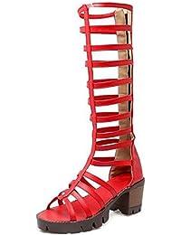GLTER Sandalias de las mujeres de tacones abiertos de estilo hueco Combinación de alto Rosay romano botas de zapatos...