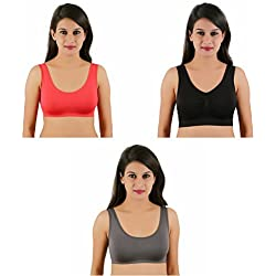 lenceria Stretchable Daily wear Air Bra Sports Bra for girls and women combo of 3