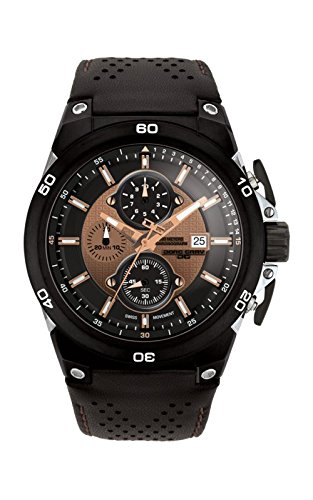 Jorg Gray Men's Quartz Watch with Brown Dial Chronograph Display and Black Leather Strap JG7800-22
