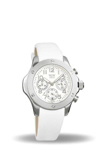 Davis - Montre Femme Sport Mode Blanche - Chronographe Etanche 50M - Bracelet Cuir Blanc