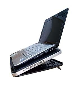 Support de PC et refroidisseur USB à neuf (9) niveaux ajustables de couleur noir avec un ventilateur silencieux et 4 ports USB 2.0 pour pc et notebook Sony, HP, Dell, Samsung, Toshiba, Advent, Compaq, Apple et Mac