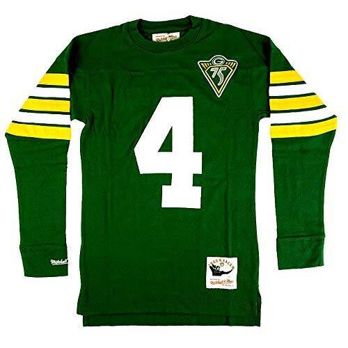 Mitchell & Ness Brett Favre #4 Green Bay Packers Throwback NFL Long Sleeve Shirt Grün, M - Ness Throwback Mitchell