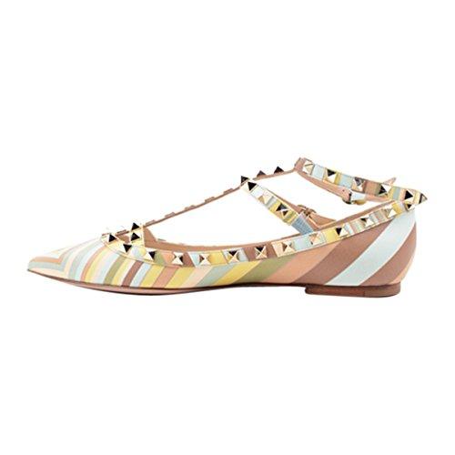 Damen Pumps Spitze Zehen Streifen Flach Mehrfarbig mit Nieten T-Spange Schuhe Gelb
