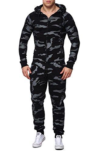 Herren Army Trainingsanzug Sweatpant+Sweater, MilitŠr Hose Jacke Camouflage Print Slim Fit , W31, schwarz (Camo Kapuzenjacke)