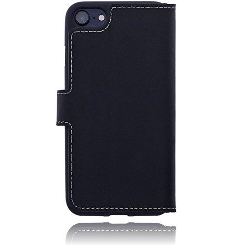 Burkley Apple iPhone 8 / iPhone 7 Hülle   Tasche   Lederhülle   Handyhülle   Ledertasche   Handytasche   Schutzhülle   Flip Cover   Book Case   bruchfester Innenschale   Kartenfach (Schwarz) Schwarz